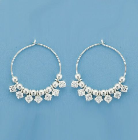 Genuine 925 Sterling Silver 22mm Beaded Hooped Earrings With 7 Cubic Zirconias